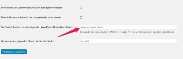 WooCommerce Teilen Button unter Kurzbeschreibung 2